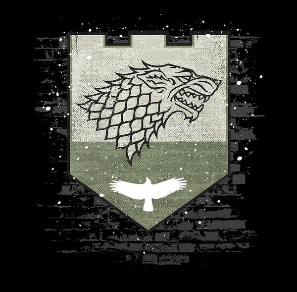 Raven Digital Art - Winter Is Here Stark Banner by Edward Draganski