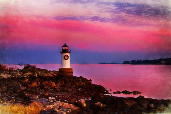 Photograph - Winter Island Lighthouse At Christmas by Jeff Folger