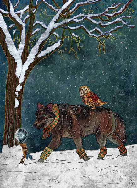 Woodland Animals Mixed Media - Winter Journey by Francesca Rizzato