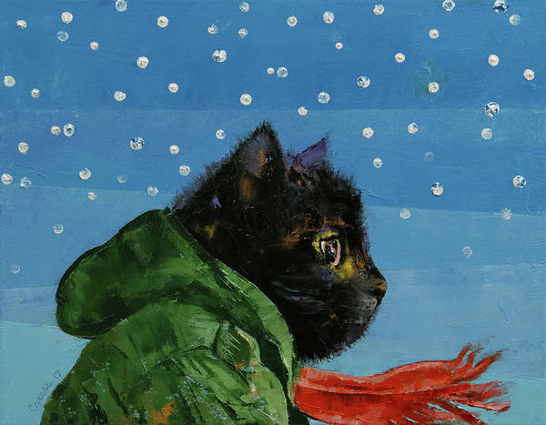Crazy Cat Painting - Winter Kitten by Michael Creese
