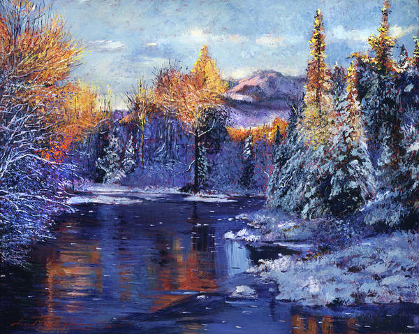 Painting - Winter Lake Memories by David Lloyd Glover