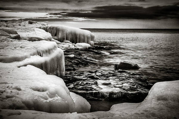 Photograph - Winter Lakeshore Black And White by Rikk Flohr