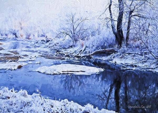 Frozen River Digital Art - Winter Landscape 3 by Charmaine Zoe