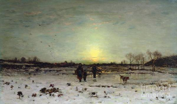 Winter Walk Painting - Winter Landscape At Sunset by Ludwig Munthe
