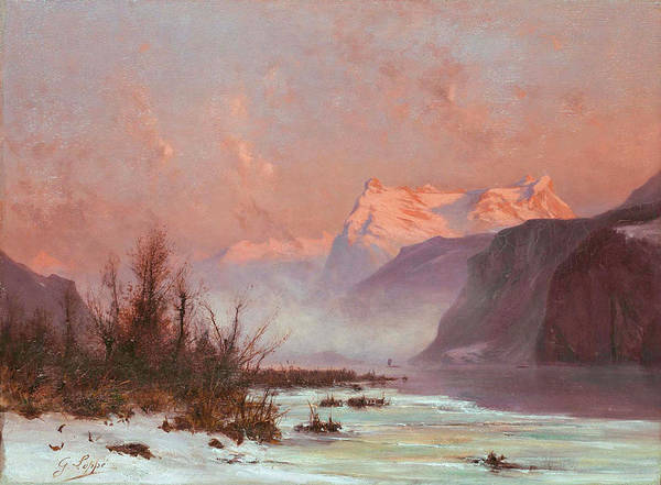 Gabriel Painting - Winter Landscape At The Lake With Mountains by Gabriel Loppe