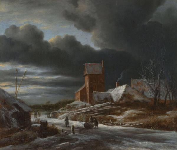 Painting - Winter Landscape  Jacob Isaacksz. Van Ruisdael, C. 1665 by Artistic Panda