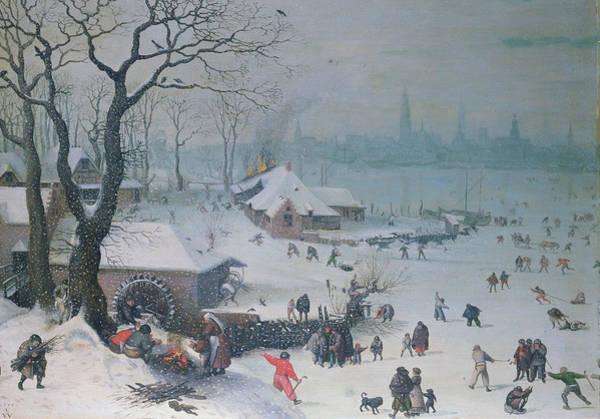 Figure Skater Painting - Winter Landscape by Lucas Van Valckenborch