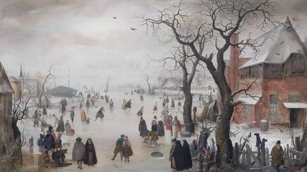 16th Century Wall Art - Painting - Winter Landscape Near A Village by Hendrick Avercamp