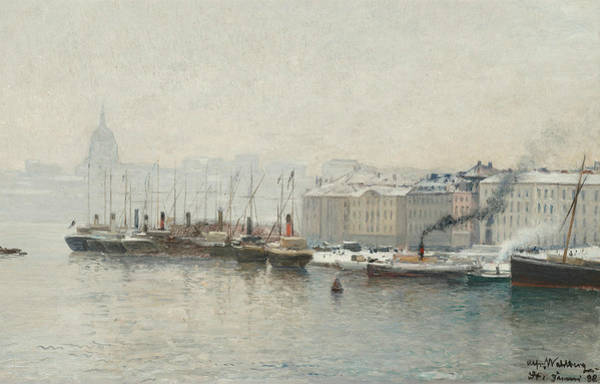 Swedish Painters Wall Art - Painting - Winter Landscape Over Skeppsbron, Stockholm by Alfred Wahlberg