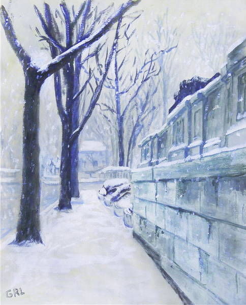 Painting - Winter Landscape Washington Dc Original Painting Sketch by G Linsenmayer