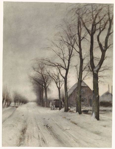 Painting - Winter Landscape With A Farm Lane, Louis Apol, 1860 - 1936 by Artistic Panda