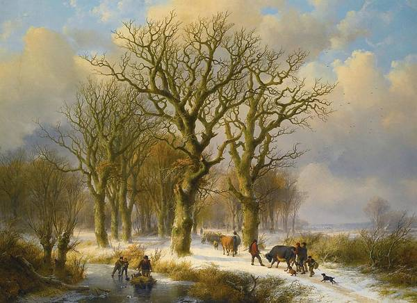 Eugene Joseph Verboeckhoven Painting - Winter Landscape With Cattle  Drivers by MotionAge Designs