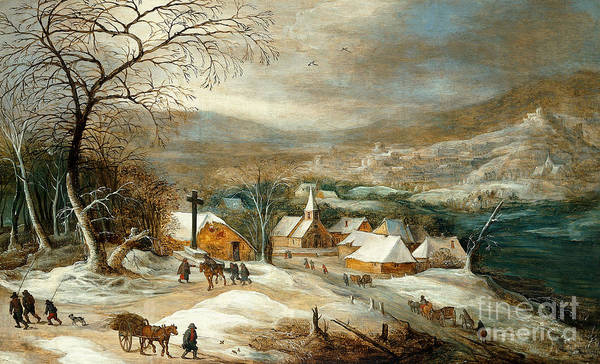 Wall Art - Painting -  Winter Landscape, With Figures On A Road By A Village by Joos de Momper