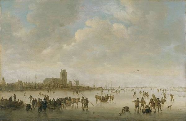 Painting - Winter Landscape With Figures On Ice 1643 Jan Josephsz. Van Goyen by Artistic Panda