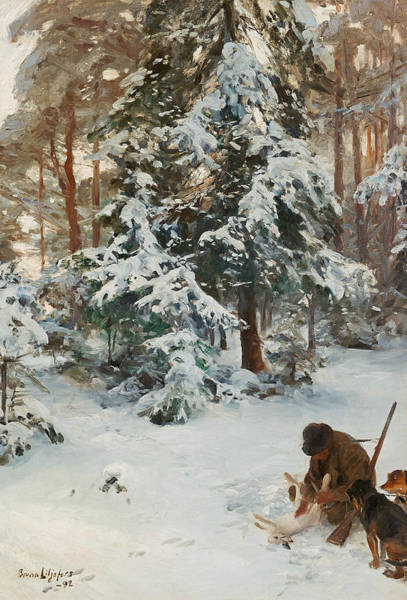 Swedish Painters Wall Art - Painting - Winter Landscape With Hunters And Dogs by Bruno Liljefors