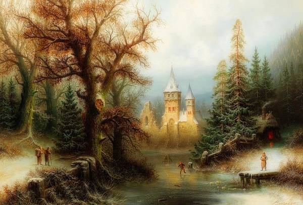 Figure Skater Painting - Winter Landscape With Ice Skaters By A Castle by Albert Bredow