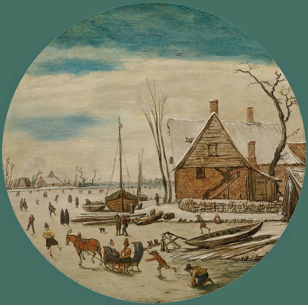 Wall Art - Painting - Winter Landscape With Skaters And A Farm House by Esaias van de Velde