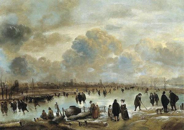 Painting - Winter Landscape With Skaters On A Frozen Waterway Ca. 1650 - 1655 By Aert Van Der Neer by Artistic Panda