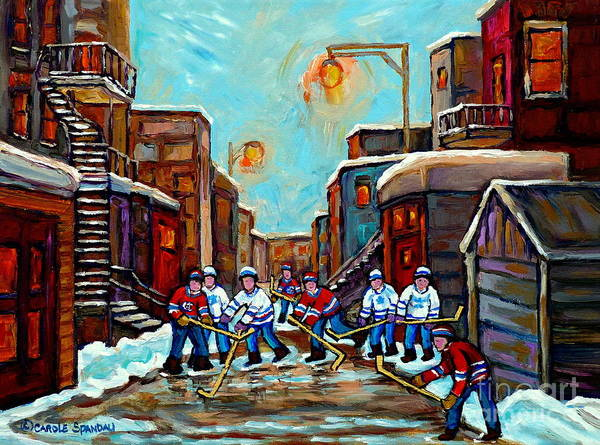 Pointe St Charles Painting - Winter Lane Hockey Art Paintings For Sale Canadian Winter Scene Paintings For Sale C Spandau Artist by Carole Spandau