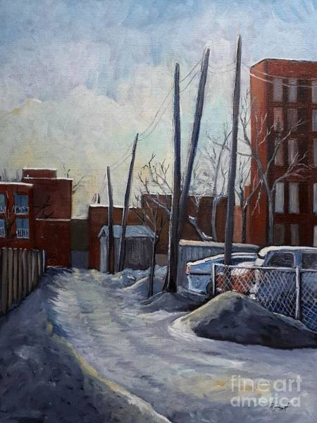 Montreal Scenes Painting - Winter Lane by Reb Frost