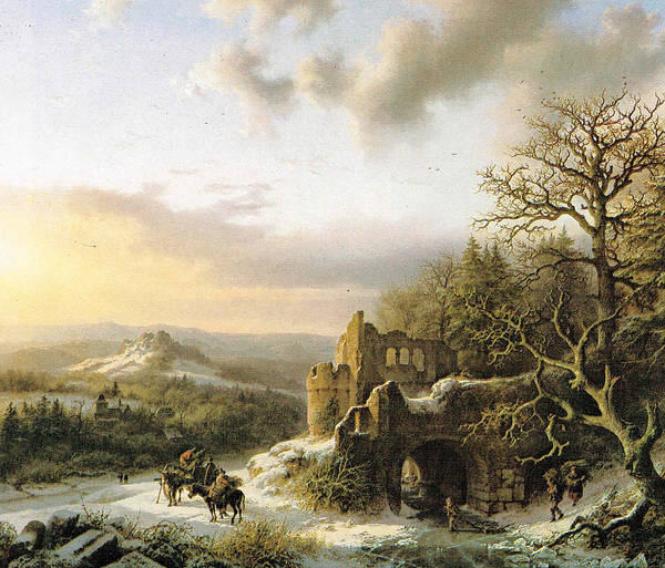 Winter Landscape With Peasants Gathering Wood Art Print