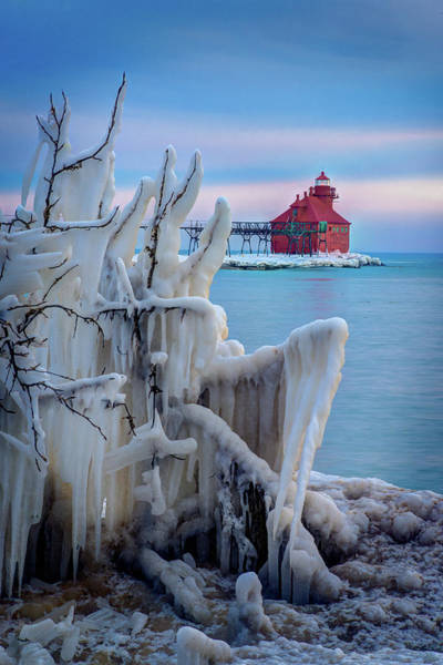 Winter Lighthouse Art Print