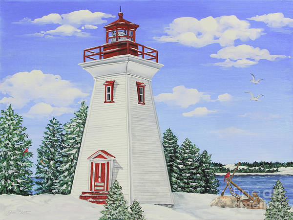 Wall Art - Painting - Winter Lighthouse-jp3900 by Jean Plout