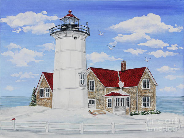 Wall Art - Painting - Winter Lighthouse-jp3903 by Jean Plout