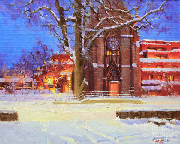 Chapels Painting - Winter Lorreto Chapel by Gary Kim