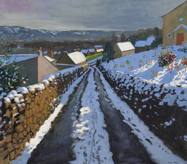 Lane Painting - Winter Middleton Derbyshire by Andrew Macara