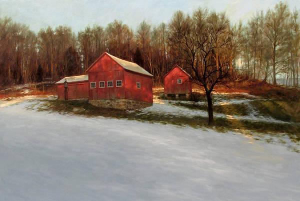 Barn Snow Painting - Winter Moon by David Henderson