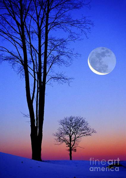 Photograph - Winter Moon Earthshine by Larry Landolfi