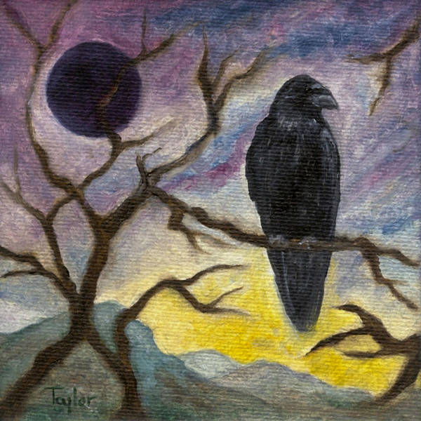 Winter Moon Raven Art Print