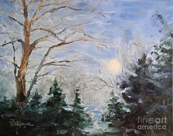 Painting - Winter Moon Rising by Lori Pittenger