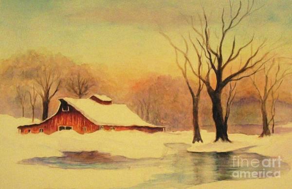 Wall Art - Painting - Winter Morning Sunrise by Hazel Holland
