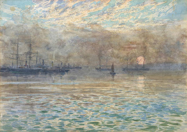 Drawing - Winter Morning, Wellington Harbour by James Nairn