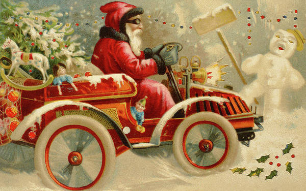 Delivering Painting - Winter Motoring, Victorian Christmas Card by English School