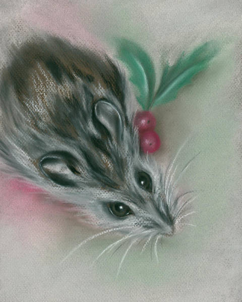 Pastel - Winter Mouse With Holly by MM Anderson