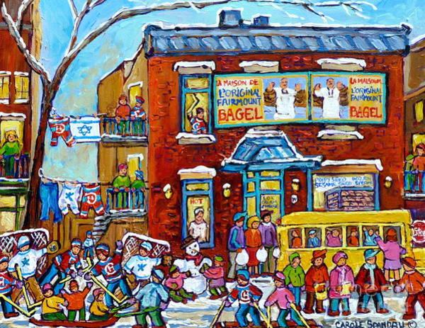 Painting - Winter Neighborhood Fun Fairmount Bagel Montreal Scene Hockey Art Montreal Memories Canadian Art   by Carole Spandau