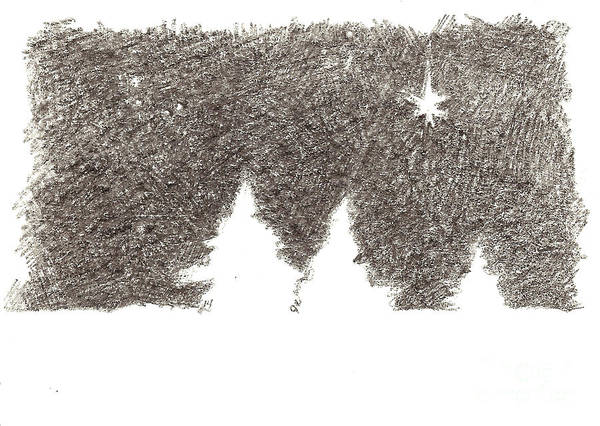 Drawing - Winter Night - Aceo by Joseph A Langley