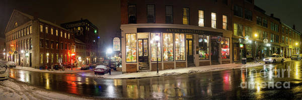 Photograph - Winter Night, Fore Street, Portland, Maine  -18933-18943-pano by John Bald