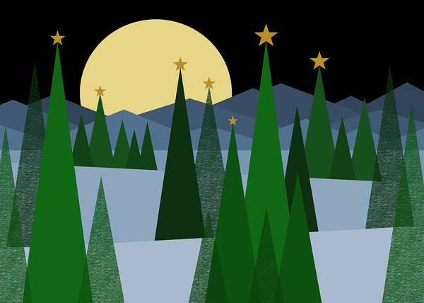 Digital Art - Winter Night Moon by Val Arie
