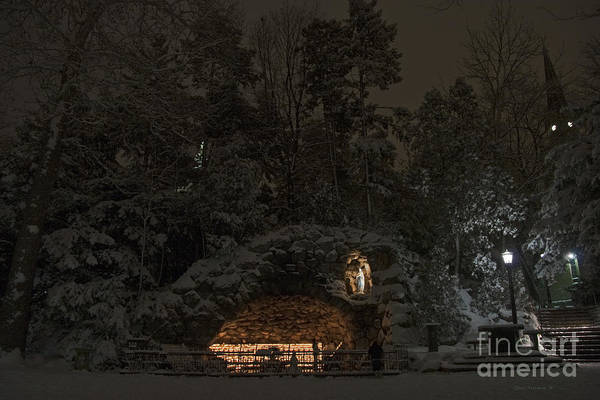 Wall Art - Photograph - Winter Night Prayer At Notre Dame Grotto by John Stephens