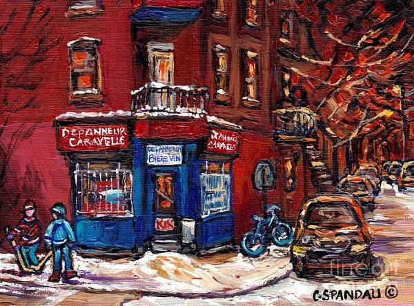 Boys Playing Hockey Painting - Winter Night Scene Street Hockey Painting Depanneur Caravelle Rue Dufresne Best Montreal Art Scenes by Carole Spandau