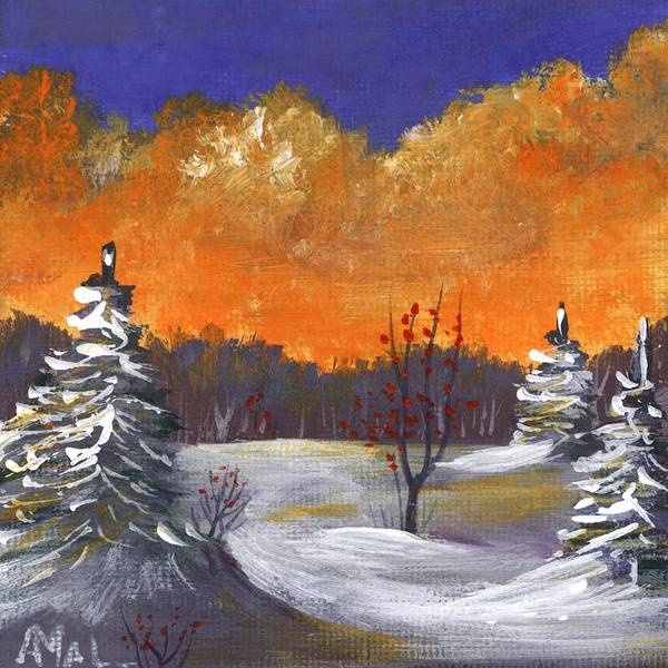 Painting - Winter Nightfall #1 by Anastasiya Malakhova