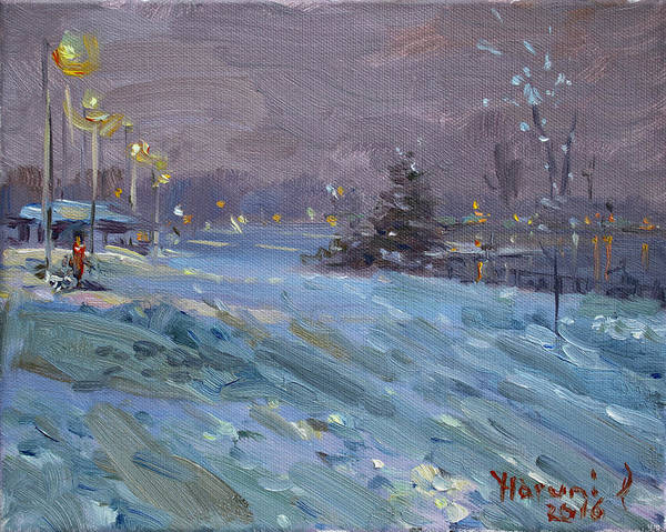 Snow Scene Painting - Winter Nocturne By Niagara River by Ylli Haruni