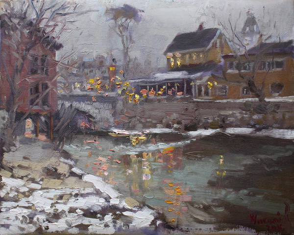 Village Painting - Winter Nocturne In Williamsville by Ylli Haruni