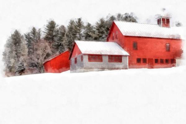 New England Barn Photograph - Winter On The Farm Enfield by Edward Fielding