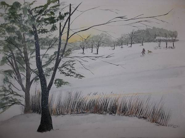 Painting - Winter On The Lake by Audrey Bunchkowski