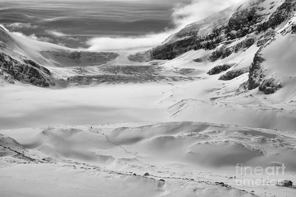 Photograph - Winter Paradise At The Columbia Icefield Black And White by Adam Jewell